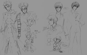 Trigun Character Sketches by kheelan