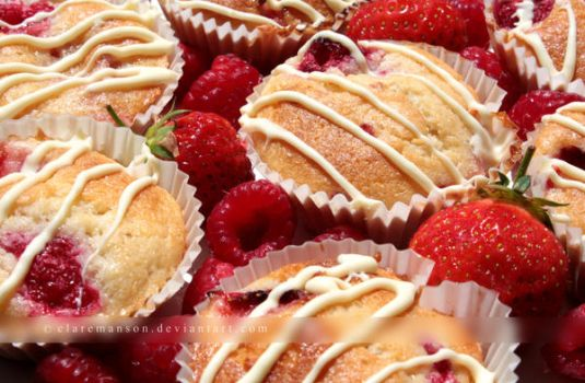 Summer Fruit and White Chocolate Cupcakes by claremanson