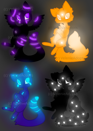 [CLOSED] Glowy Cats 50-60 points by VelenieAdopts