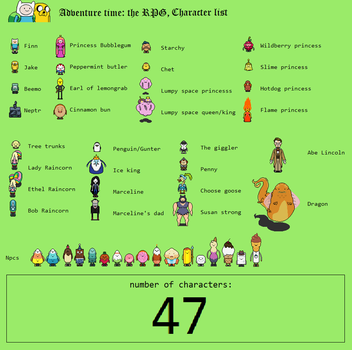 Adventure Time RPG: Character list by tebited15