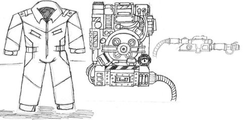 CW GhostBusters uniform and proton pack by BERNEST