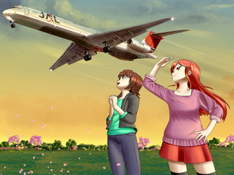 Literally just 2 random girls looking at a plane by Pandramodo