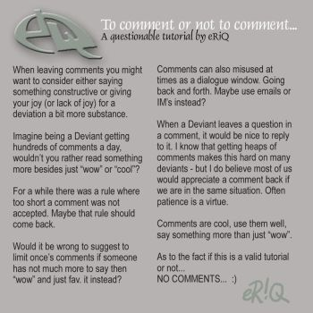 To comment or not to comment.. by eRiQ