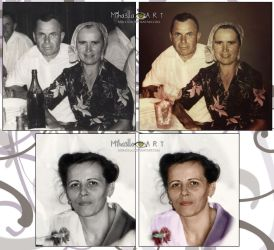 Old photos renewed, my grandparents and my mother by Miha3lla