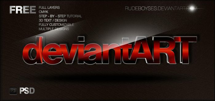 Free 3D Text PSD Graphics by RudeBoySes