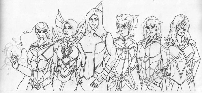 Marvel Heroines sketch by Dan21Almeida95