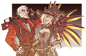 COMMISSION: OW Halloween- Solder76 and Mercy by CatBatArt