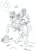 Colouring Link and Epona by YikYik