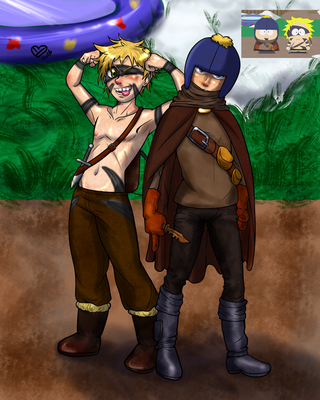 Feldspar the Thief and Tweek the Barbarian by Ynnep