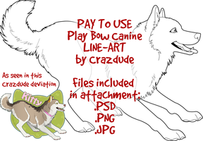 PAY TO USE Play Bow Canine Line-Art by Crazdude