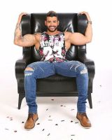 Leather Chair and Big Muscles by BigBergMan