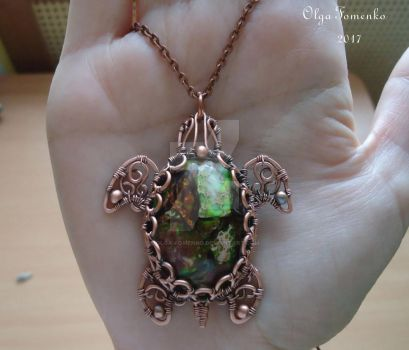 Copper pendant Turtle by olga-fomenko