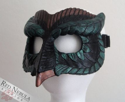 Black, Green, and Copper Owl Mask by Nightlyre