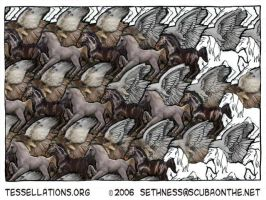 Horses + Hawks Tessellation by sethness