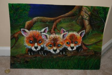 Three Fox Cubs by Aleka