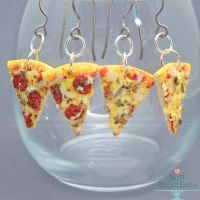 Realistic Pizza Slice Hanging Earrings by PepperTreeArt