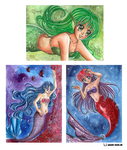 Mermaid ACEO cards by Mana-Kyusai