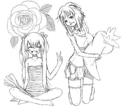 Gumi and Miku sketch by Rinrinrino
