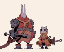 Rabbit And Cat by Varguy