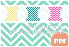 9 printable chevron floss bobbins by megalomaniaCi