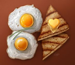 Fried Egg with Toast by ScarletWarmth