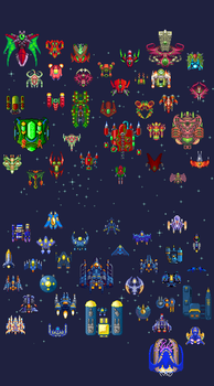 Spaceships: 60 by pixel-pax
