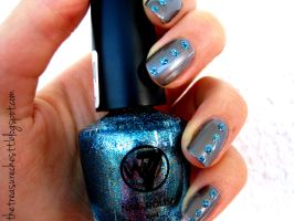 Blue Glitter Rhinestone Nails by IoanaZ