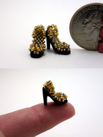 Miniature Shoes - Gold + Black by pinkythepink