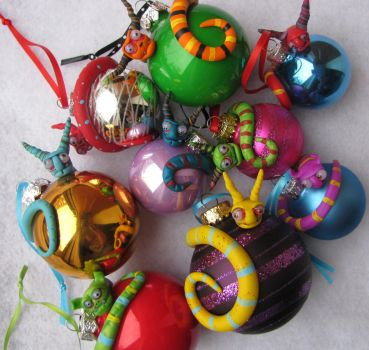 when monsters attack christmas balls... by mealymonsterland