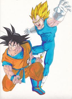 Goku and Vegeta by Sakuchane