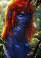 Night elf in the wood by Shricka