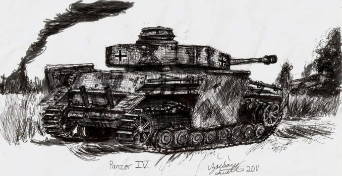 Old Panzer IV Drawing by shank117