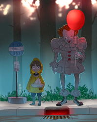 Georgie and Pennywise by hyokka