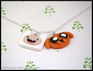 Polymer Clay Finn and Jake Necklace by Llama-Lloon