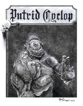 Putrid Cyclop (original art _ art print) by miguelzuppo