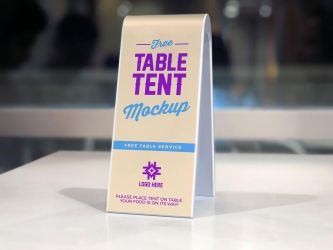 Free Plastic Table Tent Mockup PSD by Designbolts