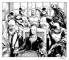 Inks - X-Men Original Team by David Finch by adr-ben