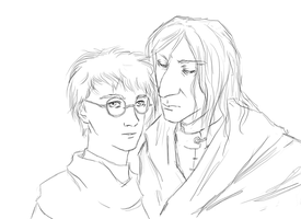 snarry lineart w00t by cyllaniel