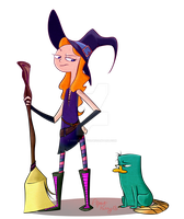 A witch and her platypus by AgentKelly13