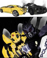 Bumblebee x Barricade Slash by Emptygoldeyes