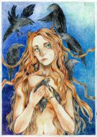Lilith with ravens by nekoeater