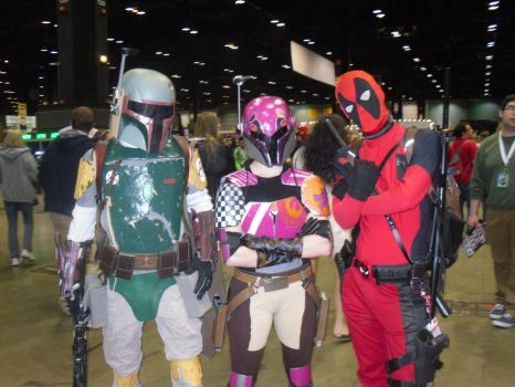 Deadpool, Boba Fett, and Sabine Wren by Darth-Slayer