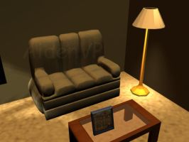 Maya Work Couch, Table, Lamp by AidenVP