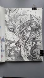 lady with stag / sketchbook by Albi777