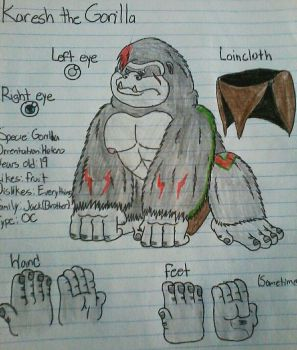 [OC-Traditional] Karesh the Gorilla Ref. by BonnieBunny2