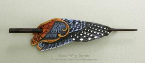 Whimsical Kestrel Wing Leather Barrette by windfalcon