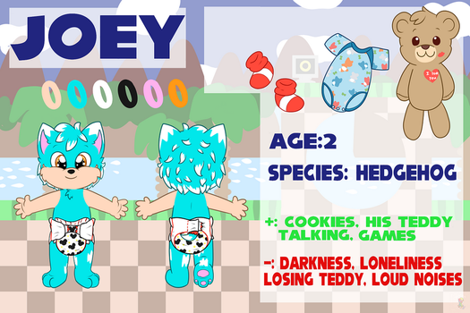 Joey the Hedgehog ref sheet (CM) by tailslover42