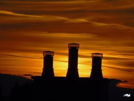The Three Cooling Towers Sunset by wolfwings1
