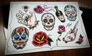 Sugar skull sheet  by HoylierThanThou