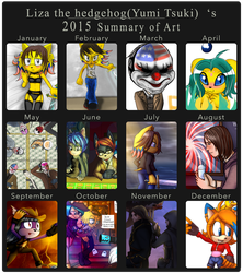 Liza the hedgehog`s (Yumi Tsuki) 2015 summary art by lizathehedgehog